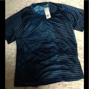Adidas Blue Azure Stripe Mens Shirt Short Sleeve L